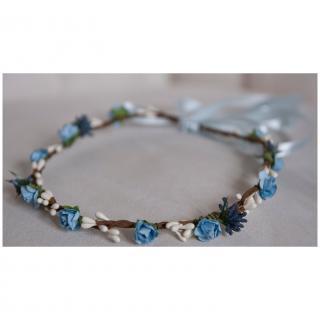 Couronne2fleurs - Couronne de fleurs cheveux bleue et blanche - couronne de fleurs