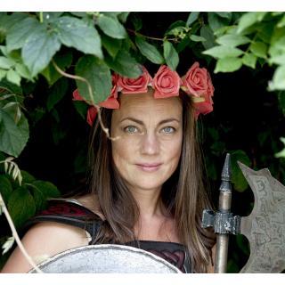 Couronne2fleurs - Couronne de fleurs cheveux en mousse orange pailleté - couronne de fleurs