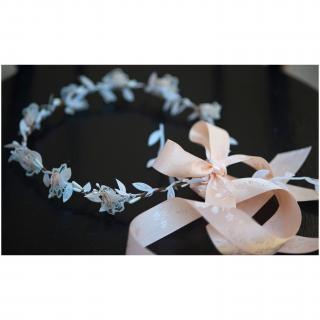 Couronne2fleurs - Couronne de fleurs cheveux en tissu et dentelles - couronne de fleurs