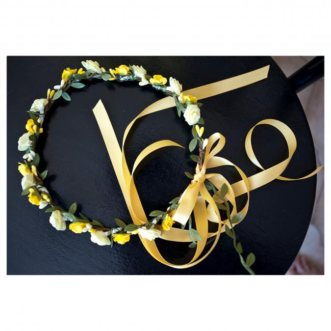 Couronne2fleurs - Couronne de fleurs cheveux jaune - couronne de fleurs