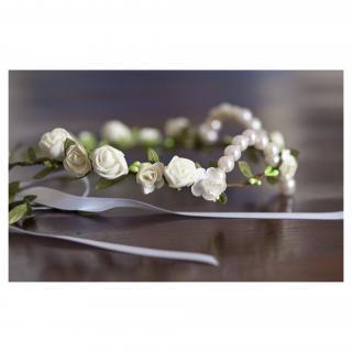 Couronne2fleurs - Couronne de fleurs cheveux médiévale blanche - couronne de fleurs