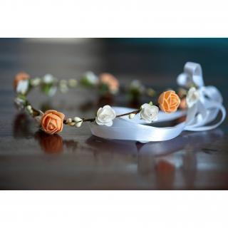 Couronne2fleurs - Couronne de fleurs cheveux modèle abricot vanille - couronne de fleurs