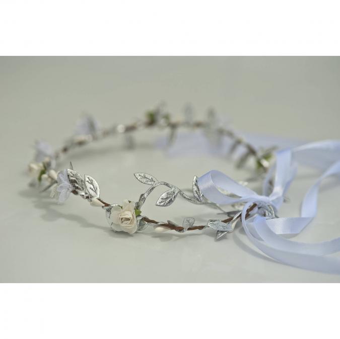 """Couronne2fleurs - Couronne de fleurs cheveux modèle """"argenté"""" - couronne de fleurs"""