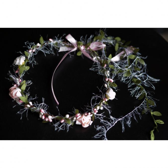 """Couronne2fleurs - Couronne de fleurs cheveux modèle """"Fanfreluches"""" - couronne de fleurs"""
