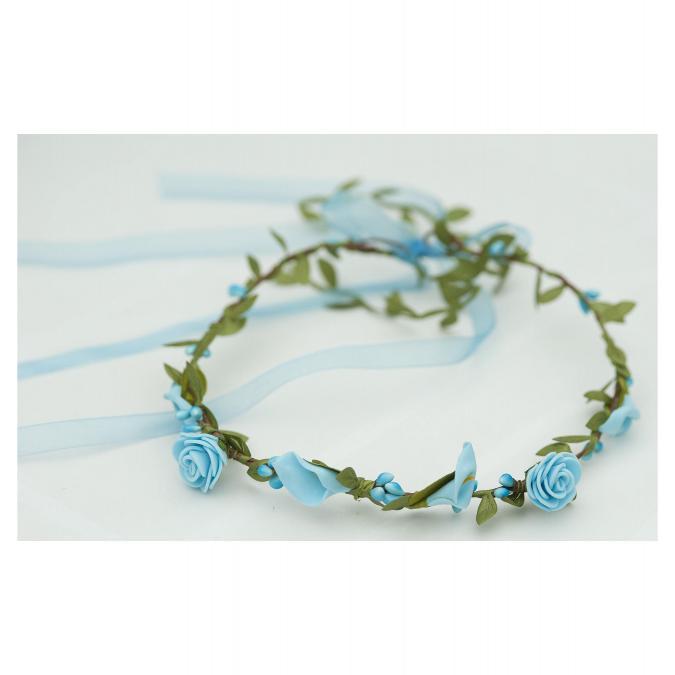 Couronne2fleurs - Couronne de fleurs cheveux modèle Turquoise - couronne de fleurs