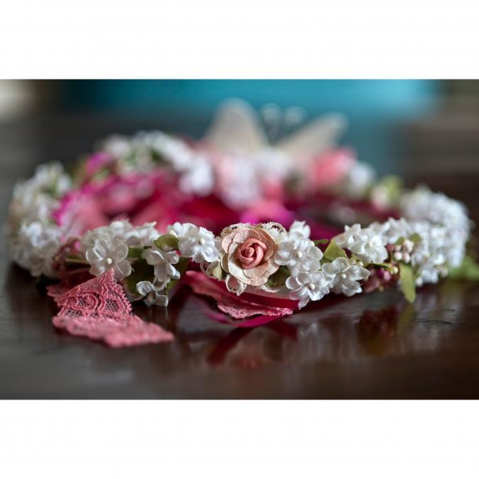 Couronne2fleurs - Couronne de fleurs cheveux papillon et dentelle - couronne de fleurs