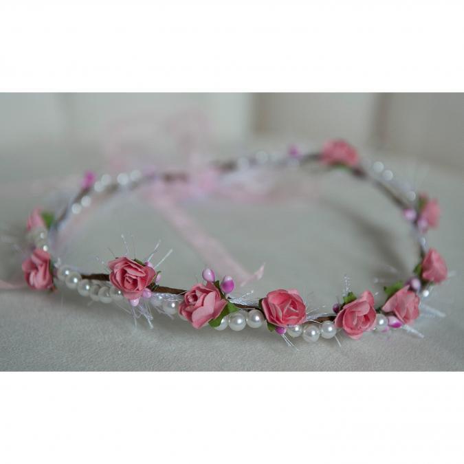 Couronne2fleurs - Couronne de fleurs cheveux perlée shabby chic - couronne de fleurs