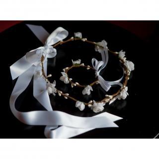 Couronne2fleurs - Couronne de fleurs cheveux pour mariée et son bracelet assorti - couronne de fleurs