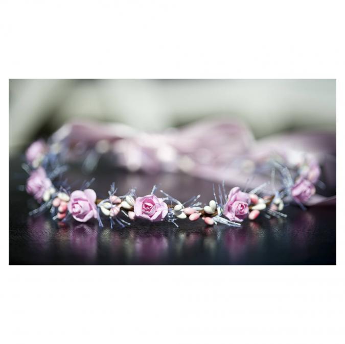 Couronne2fleurs - Couronne de fleurs cheveux rose et blanche - couronne de fleurs