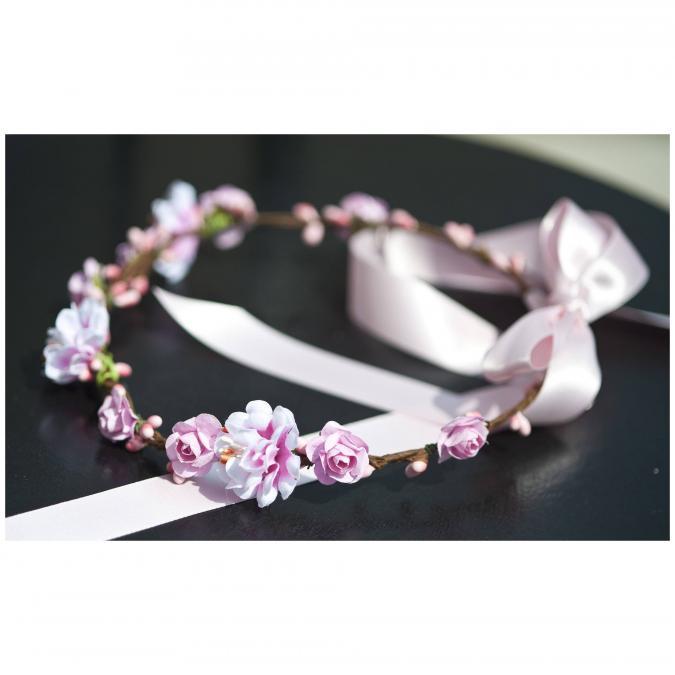 Couronne2fleurs - Couronne de fleurs cheveux rose shabby chic - couronne de fleurs