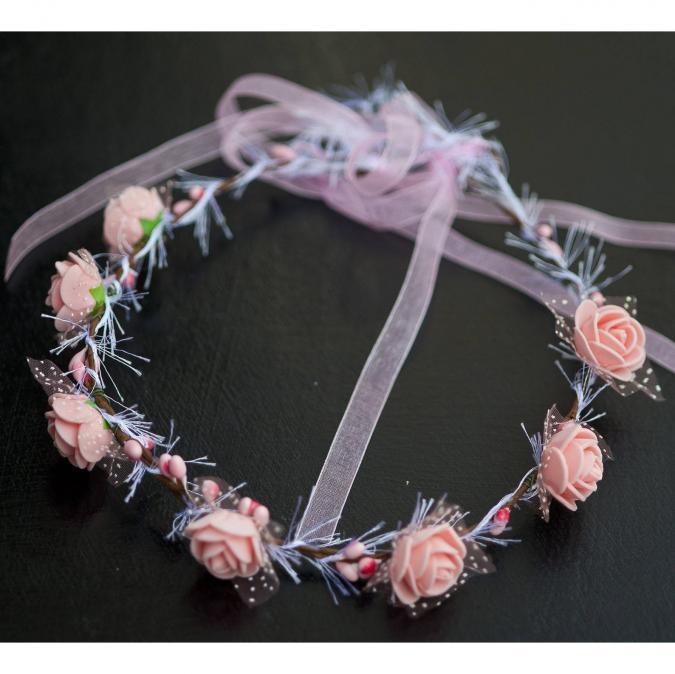 Couronne2fleurs - Couronne de fleurs cheveux roses shabby chic - couronne de fleurs