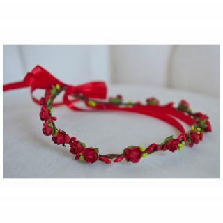 Couronne2fleurs - Couronne de fleurs cheveux rouge - couronne de fleurs