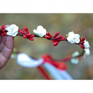 Couronne2fleurs - Couronne de fleurs cheveux rouge et blanche - couronne de fleurs