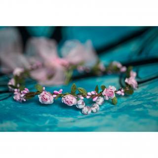 Couronne2fleurs - Couronne de fleurs cheveux shabby chic - couronne de fleurs