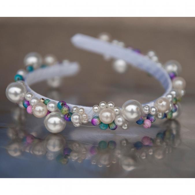 Couronne2fleurs - Diadème de mariée ou de demoiselle d'honneur blanc et arc en ciel - diadème