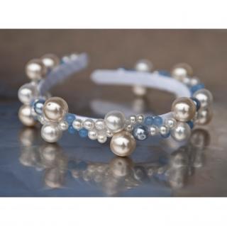 Couronne2fleurs - Diadème perlé pour mariée ou demoiselle d'honneur blanc et bleu - diadème