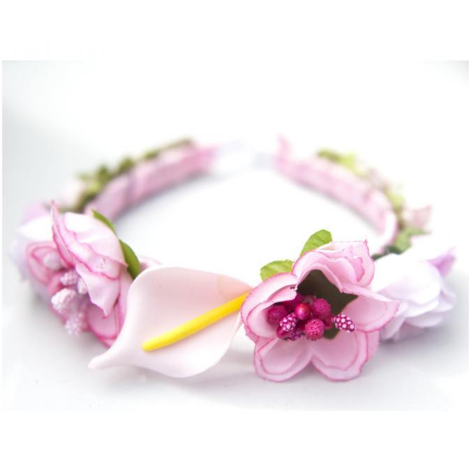 Couronne2fleurs - Diadème serre-tête fleuri couronne de fleurs shabby chic - diadème