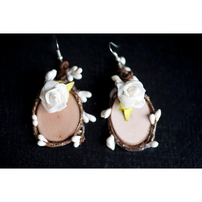 """Couronne2fleurs - Paire de boucles d'oreilles pour Elfe modèle """"Blanc"""" - Boucles d'oreille - Tissu"""