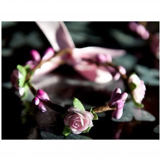 Couronne2fleurs - Paire de bracelets floraux rose tendre shabby chic idée cadeau Noël - Bracelet - Tissu