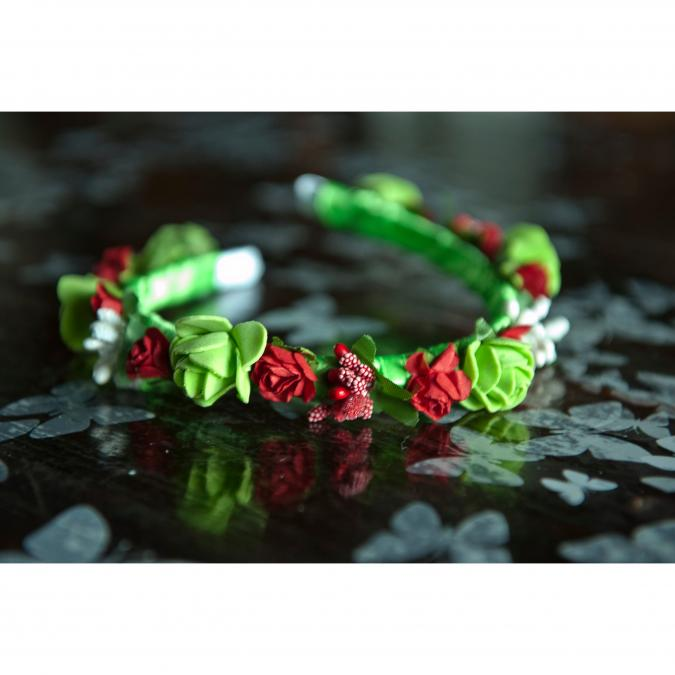 Couronne2fleurs - Serre-tête floral vert et rouge idée cadeau Noël - serre tête