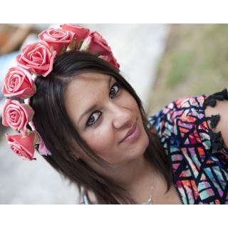 Couronne2fleurs - Serre-tête majestueux aux roses pailletées - serre tête