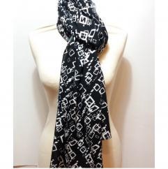 Créa'Récup Design - Foulard femme noir imprimés géométriques blancs - Foulard