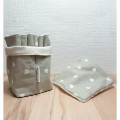 Créa'Récup Design - Panière lingettes démaquillantes coeur blanc - Lingette