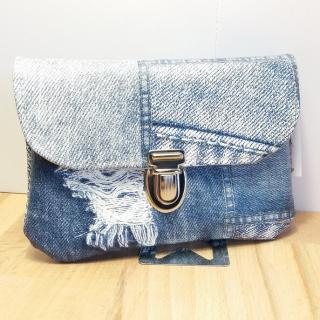 Créa'Récup Design - Porte-monnaie patchwork jeans - Porte-monnaie - Bleu
