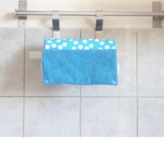 Créa'Récup Design - Rouleau essuie-tout réutilisable bleu à pois blancs - Essuie-tout