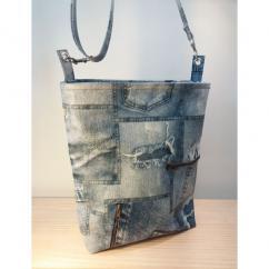 Créa'Récup Design - Sac à main bandoulière similicuir jeans: sur COMMANDE - Sac à main - Bleu