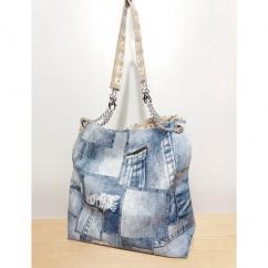 Créa'Récup Design - Sac à main similicuir patchwork jeans - Sac à main - Bleu
