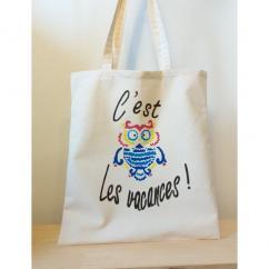 """Créa'Récup Design - Tote-bag été """"C'est chouette les vacances!!"""" - Tote bag"""