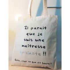 Créa'Récup Design - Tote-bag : Maîtresse brillante !! - Tote bag
