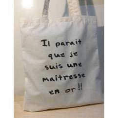 Créa'Récup Design - Tote-bag : Maîtresse en Or !! - Tote bag