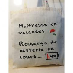 Créa'Récup Design - Tote-bag : Maîtresse en vacances - Tote bag