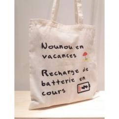 Créa'Récup Design - Tote-bag : Nounou en vacances - Tote bag