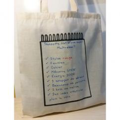 Créa'Récup Design - Tote-bag : shopping-list d'une super Maîtresse !! - Tote bag
