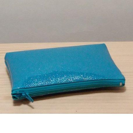 Créa'Récup Design - Trousse similicuir bleu pailleté strass coeur - Trousse à maquillage