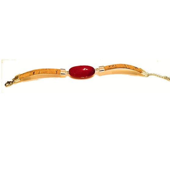 Crea Tagua  artisan créateur sur l'ivoire végétal - Bracelet perle olive en Tagua de couleur ROUGE et liège - Bracelet -
