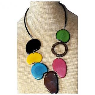 Crea Tagua  artisan créateur sur l'ivoire végétal - Collier cordon cuir, tranches de tagua teintées et coco2 - Collier - Ivoire (végétal)