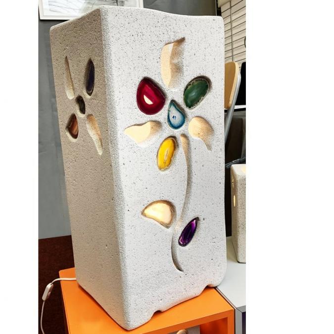 CREALAMPES - Grande lampe Déco Fleur incrustée d'agates - Décoration intérieure