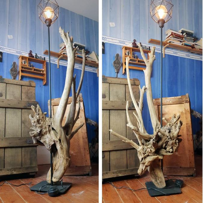 CREALAMPES - Grande lampe en bois flotté - Lampe d'ambiance