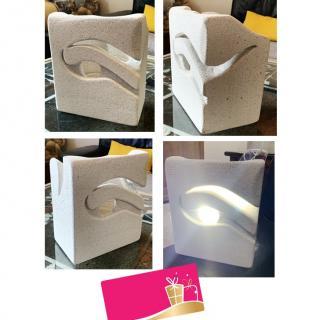 CREALAMPES - Lampe Déco motif sculpté abstrait - Lampe d'ambiance