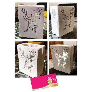 CREALAMPES - Lampe Déco motif sculpté CERF - Lampe d'ambiance