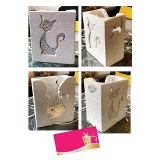 CREALAMPES - Lampe Déco motif sculpté CHAT - Lampe d'ambiance