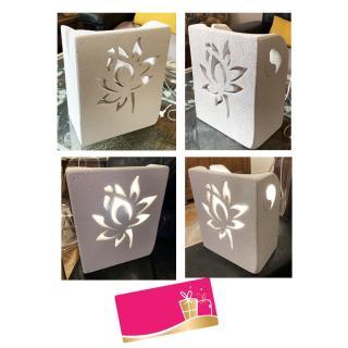 CREALAMPES - Lampe Déco motif sculpté FLEUR DE LOTUS - Lampe d'ambiance