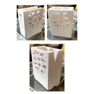 CREALAMPES - Lampe Déco motif sculpté FLEURS - Lampe d'ambiance