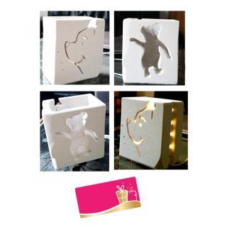 CREALAMPES - Lampe Déco motif sculpté OURSON - Lampe d'ambiance
