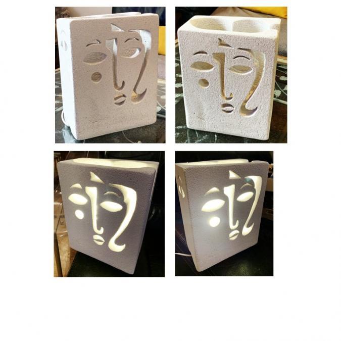 CREALAMPES - Lampe Déco motif sculpté visage Braque - Lampe d'ambiance