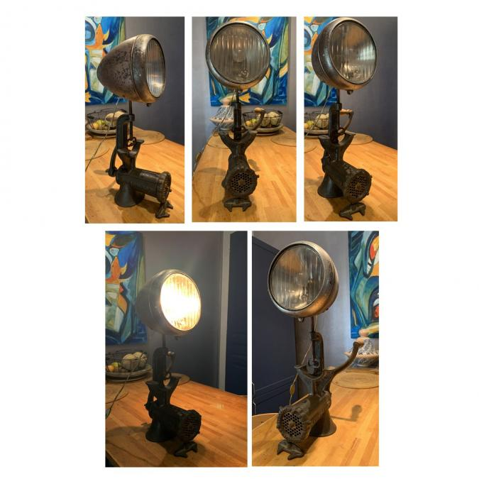 CREALAMPES - Lampe UPCYCLING phare de camion - Lampe d'ambiance